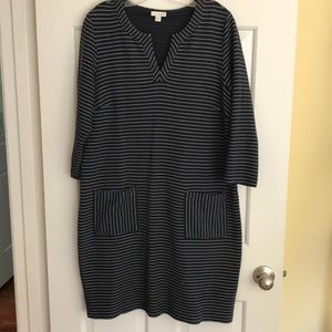 J. Jill navy and white dress with 3/4 sleeves